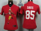 2013 Super Bowl XLVII Women NEW San Francisco 49ers 85 Davis Red Portrait Fashion Game Jerseys
