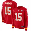 Nike Chiefs #15 Patrick Mahomes Red Women Therma Long Sleeve Jersey