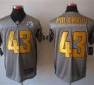 Nike Steelers #43 Troy Polamalu Grey With Hall of Fame 50th Patch NFL Elite Jersey