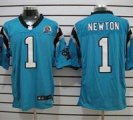 Nike Panthers #1 Cam Newton Blue With Hall of Fame 50th Patch NFL Elite Jersey