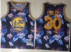 Warriors #30 Stephen Curry Black 1996-97 Hardwood Classics Floral Fashion Swingman