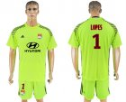 2017-18 Lyon 1 LOPES Fluorescent Green Goalkeeper Soccer Jersey