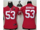 2013 Nike Super Bowl XLVII NFL Women San Francisco 49ers #53 Navorro Bowman Red Jerseys