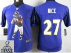 2013 Super Bowl XLVII Youth NEW NFL Baltimore Ravens #27 Rice Purple Portrait Fashion Jerseys