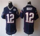 Nike Patriots #12 Tom Brady Navy Blue With Hall of Fame 50th Patch NFL Elite Jersey