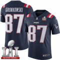 Youth Nike New England Patriots #87 Rob Gronkowski Limited Navy Blue Rush Super Bowl LI 51 NFL Jersey