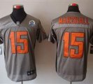 Nike Bears #15 Brandon Marshall Grey Shadow With Hall of Fame 50th Patch NFL Elite Jersey