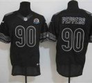 Nike Bears #90 Julius Peppers Black With Hall of Fame 50th Patch NFL Elite Jersey