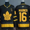 Maple Leafs #16 Mitchell Marner Black With Special Glittery Logo Adidas Jersey