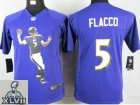 2013 Super Bowl XLVII Youth NEW NFL Baltimore Ravens #5 Flacco Purple Portrait Fashion Jerseys