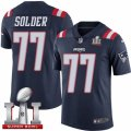 Youth Nike New England Patriots #77 Nate Solder Limited Navy Blue Rush Super Bowl LI 51 NFL Jersey