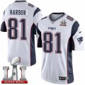 Youth Nike New England Patriots #81 Clay Harbor Elite White Super Bowl LI 51 NFL Jersey