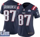 Nike Patriots #87 Rob Gronkowski Navy Women 2019 Super Bowl LIII Color Rush Limited Jersey