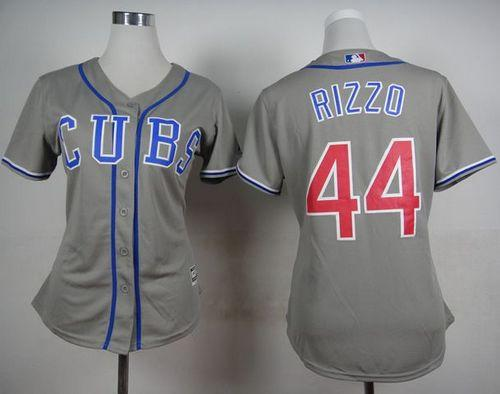 MLB Women Cubs #44 Anthony Rizzo Grey Alternate Road Stitched Baseball jerseys