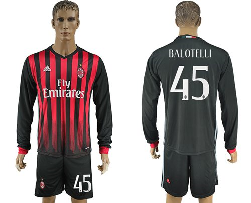 AC Milan #45 Balotelli Home Long Sleeves Soccer Club Jersey