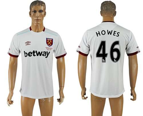 West Ham United #46 Howes Away Soccer Club Jersey